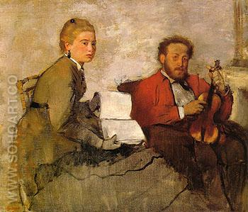 Violinist and Young Woman Holding the Music 1870 - Edgar Degas reproduction oil painting