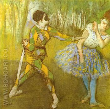 Harlequin and Colombina 1886 - Edgar Degas reproduction oil painting