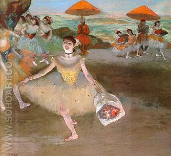 Ballerina with a Bouquet of Flowers 1877 - Edgar Degas reproduction oil painting