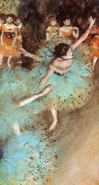 The Green Dancer Dancers on the Stage 1880 - Edgar Degas reproduction oil painting