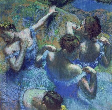 Four Ballerinas Behind the Stage 1898 - Edgar Degas reproduction oil painting