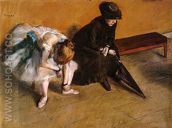 Ballerina and Woman with Umbrella on a Bench L Attente 1882 - Edgar Degas reproduction oil painting