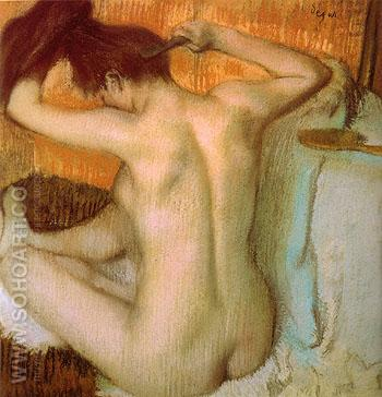 After the Bath Woman Combing Her Hair 1885 - Edgar Degas reproduction oil painting