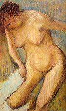 Woman Drying Her Right Leg Seen from the Front 1886 - Edgar Degas reproduction oil painting
