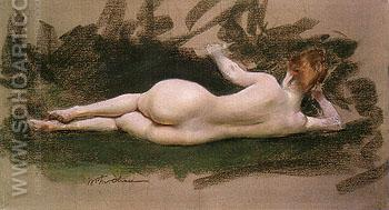 Untitled  Resting Nude 1888 - William Merrit Chase reproduction oil painting