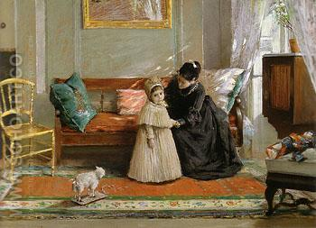 Child and Young Woman in black I'm Going to Grandma 1889 - William Merrit Chase reproduction oil painting
