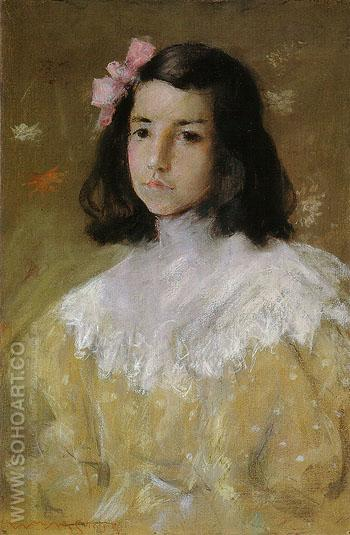 The Pink Bow Dieudonnee 1895 - William Merrit Chase reproduction oil painting