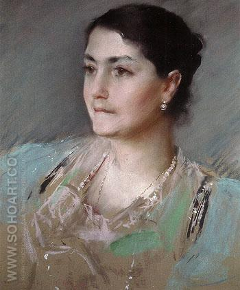Untitled Portrait of Mrs William Chase 1900 - William Merrit Chase reproduction oil painting