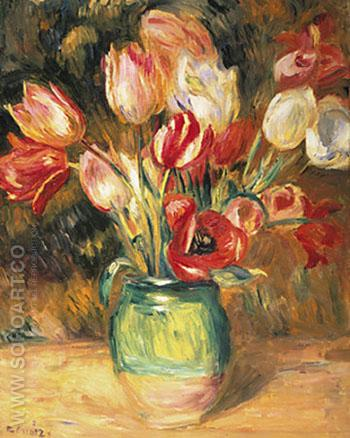 Vase of Tulips - Pierre Auguste Renoir reproduction oil painting