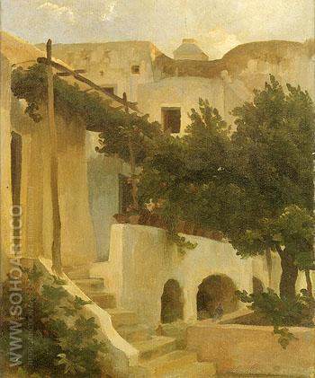 Gorden of a House at Capri 1859 - Frederick Lord Leighton reproduction oil painting