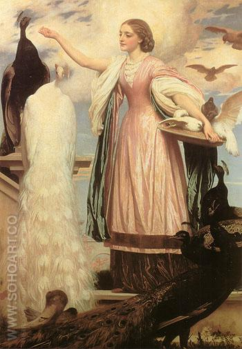 A Girl feeding Peacocks 1863 - Frederick Lord Leighton reproduction oil painting