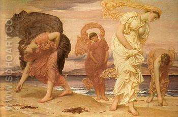 Greek Girls Picking up Pebbles by the Sea 1871 - Frederick Lord Leighton reproduction oil painting