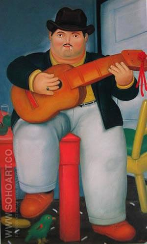 Guitar Player 1982 - Fernando Botero reproduction oil painting
