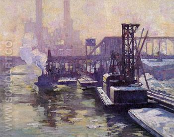 Winter Industrial Landscape on The Chicago River 1906 - Alson Skinner Clark reproduction oil painting
