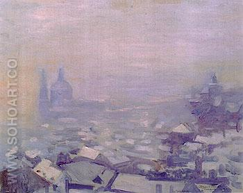 Snow over Prague 1912 - Alson Skinner Clark reproduction oil painting