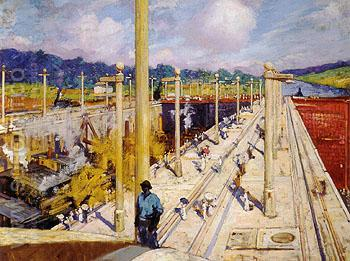 First Dredges through the Gatun Locks 1914 - Alson Skinner Clark reproduction oil painting