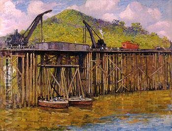 Moving the Trestles 1914 - Alson Skinner Clark reproduction oil painting