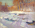 Frozen River Jackson New Hampshire 1916 - Alson Skinner Clark reproduction oil painting
