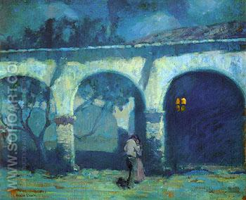Moonlight in the Mission 1919 - Alson Skinner Clark reproduction oil painting