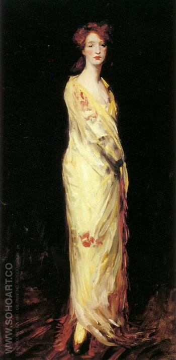 Marjorie in a Yellow Shawl 1908 - Robert Henri reproduction oil painting