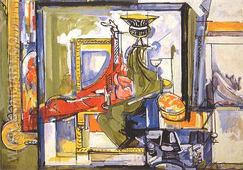 Interior with Red and Green Draperies 1935 - Hans Hofmann reproduction oil painting