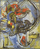 Still Life Blue Ground Fruitiere 1937 - Hans Hofmann reproduction oil painting