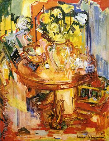 Round Table With Pipe Round Table with Vases of Flowers 1939 - Hans Hofmann reproduction oil painting