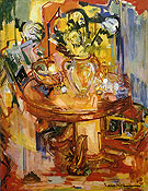 Round Table With Pipe Round Table with Vases of Flowers 1939 - Hans Hofmann