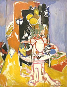 Round Table With Pipe Round Table Vases of Flowers - Hans Hofmann reproduction oil painting