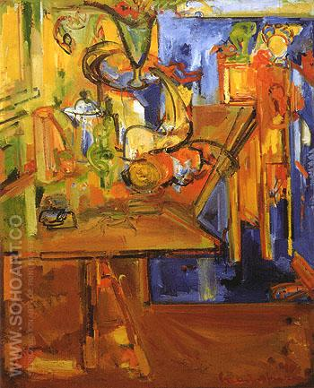Still Life with Fruit and Coffee Pot 1940 - Hans Hofmann reproduction oil painting