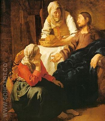 Christ in the House of Mary and Martha - Johannes Vermeer reproduction oil painting
