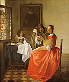 A Lady and Two Gentleman - Johannes Vermeer reproduction oil painting