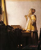 Girl with a Pearl Necklace - Johannes Vermeer reproduction oil painting