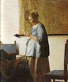 Woman in Blue Reading a Letter - Johannes Vermeer reproduction oil painting