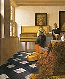 The Music Lesson 1664 - Johannes Vermeer reproduction oil painting