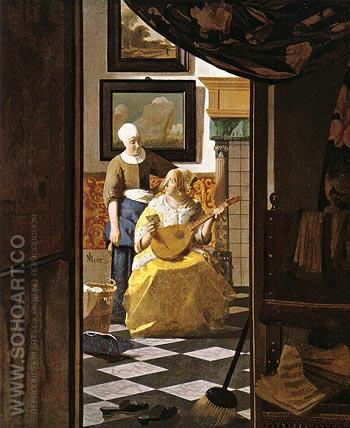 The Love Letter 1667 - Johannes Vermeer reproduction oil painting