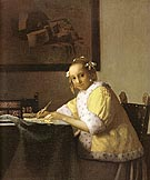 Writing Lady in Yellow Jacket 1666 - Johannes Vermeer reproduction oil painting