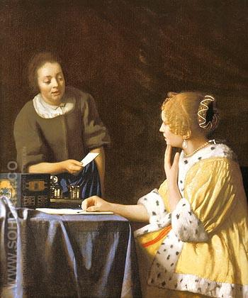 Lady with a Maidservant Holding a Letter - Johannes Vermeer reproduction oil painting