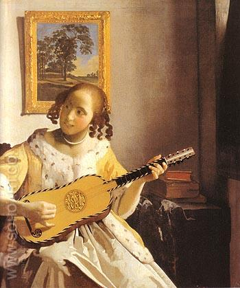 The Guitar Player - Johannes Vermeer reproduction oil painting