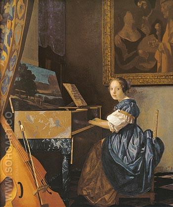Lady Seated at a Virginal - Johannes Vermeer reproduction oil painting