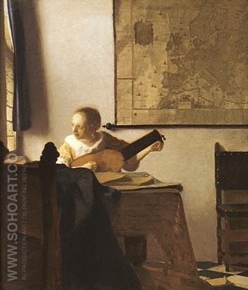 Woman with a Lute Near a Window - Johannes Vermeer reproduction oil painting