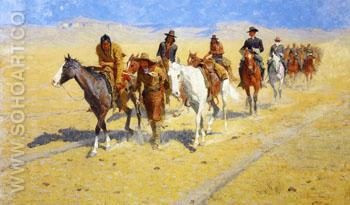 Pony Tracks in the Buffalo Trails 1904 - Frederic Remington reproduction oil painting