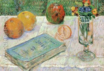 Still Life with a Book and Oranges 1885 - Paul Signac reproduction oil painting