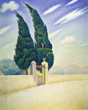 Two Cypresses, Mistral, Opus 241 1893 - Paul Signac reproduction oil painting