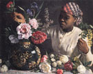 African Woman with Peonies - Frederic Bazille reproduction oil painting