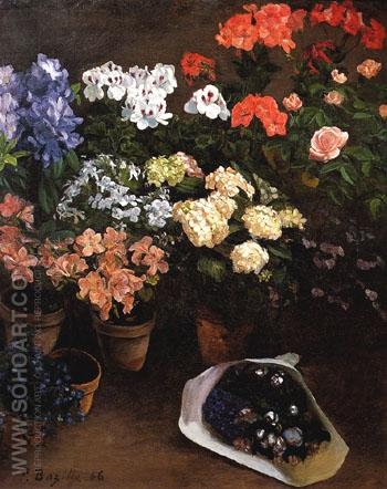 Study of Flowers - Frederic Bazille reproduction oil painting