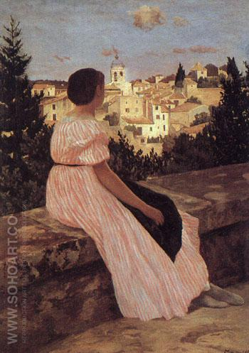 The Pink Dress 1864 - Frederic Bazille reproduction oil painting
