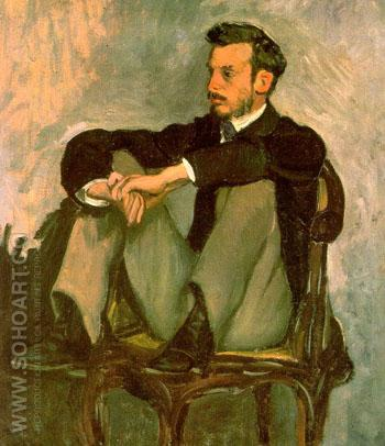Portrait of Renoir 1867 - Frederic Bazille reproduction oil painting
