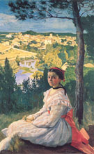 View of the Village 1868 - Frederic Bazille reproduction oil painting