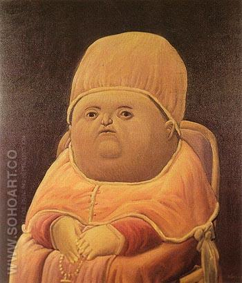Portrait of Pope Leo X after Raphael 1964 - Fernando Botero reproduction oil painting